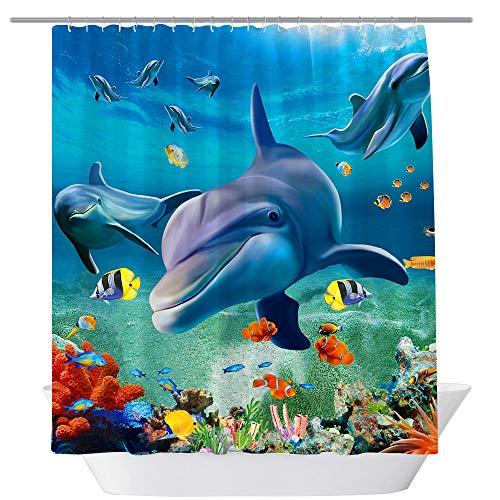 BT World Ocean Duschvorhänge, Delfin, Stoff, Delfin, Badezimmer-Dekor-Set mit Haken, 180 x 180 cm