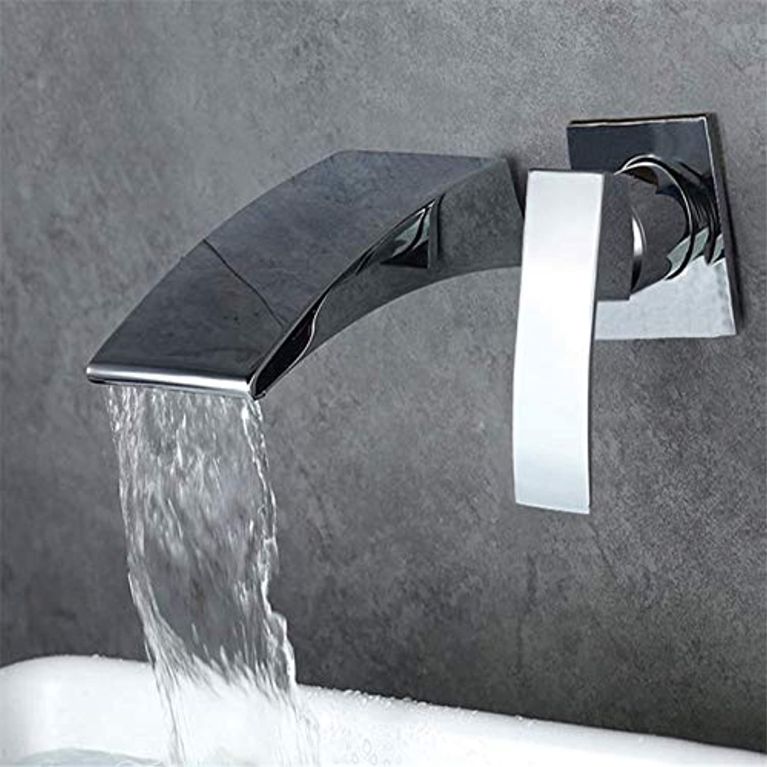 Modern Antique Copper Waterfall Bathtub Faucet Wall-Mounted Bathroom Faucet Bathtub Faucet Buried Wall hot and Cold Water Control Single Handle