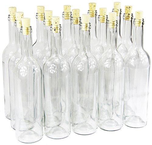 Weinflasche 750 ml ohne/mit Korken Glasflasche Leere Flasche Likör Wein 3 Farben (16 STK. mit Korken, Weiß)