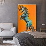 NIMCG Flying Animal Poster and Print Mural Art Canvas Painting Hand Drawn Abstract Horse Picture for Living Room decoración del hogar (Sin Marco) 50x70CM