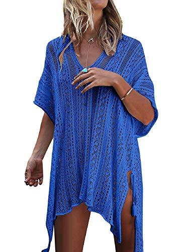 Voqeen Trajes de Baño Cubrir Mujer Vestido Mujer Sexy Verano Crochet Ahuecar Bikini Cover Up Vestido de Playa (Azul)