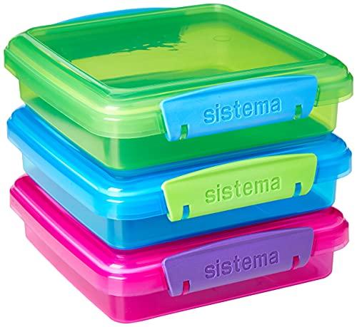 Sistema 41647 Lunch Sandwich Box mit kontrastierendem Clips, 450ml, 3Stück , farblich sortiert