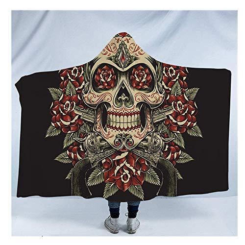 Wzz Coperta con Cappuccio Sherpa Fleece Wearable Blanket Gotico, 3D Stampa Molle Eccellente Blanket di Halloween per Adulti, Bambini,A,150cmx200cm