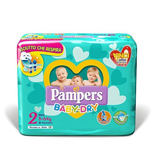 Pampers Baby Dry Pannolini Mini, Taglia 2 (3-6 kg), 31 Pannolini