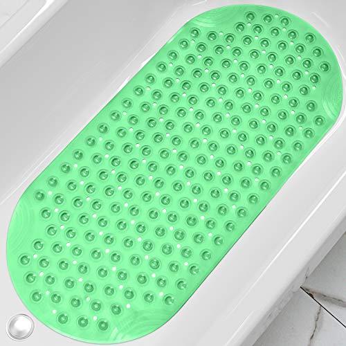 DEXI Duschmatte 88 x 40 cm,Badewannenmatte rutschfest mit Saugnapf & Ablauflöchern,Maschinenwaschbare,Kein Chemie-Geruch Badematten für Badezimmer Badewanne,Transparent Grün