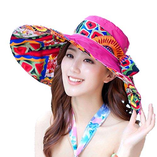 Rose style bohème femmes Hat chapeau à large bord de plage Hat pour l'été