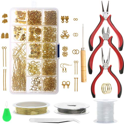 Jewellery Earring Making Kit, 1010Pcs Gold Jewelry Repair Tools with Accessories...