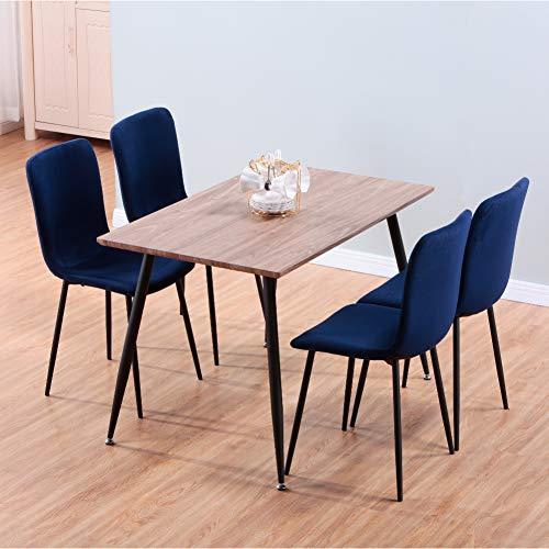 GOLDFAN Esstisch mit 4 Stühlen Essgrupp Rechteckiger Tisch Holz und Blau Stoff Stuhl Wohnzimmertisch für Esszimmer Küche