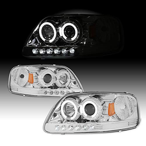 For 1997-2002 Ford F-150 2003 Expedition 04 F150 Heritage Dual LED Halo Ring Chrome Clear Projector Headlights + Corner