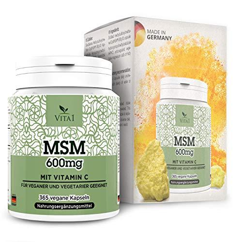 MSM +Vitamin C 365 Kapseln Vegan Unübertroffen in Reinheit und Qualität 99,9%