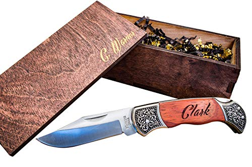 Custom Gentlemans Knives w/Engraved Wood Boxes- Wooden Groomsmen Gift Box Set Groomsman Personalized Knife Husband Hunting Man Mens Boyfriend Wedding Gifts Folding Rustic Pocket Knifes Locks Open