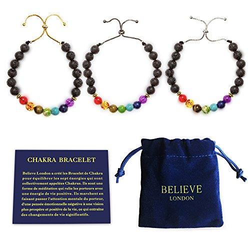 Bracelet Chakra avec Sac à Bijoux et Carte des Significations | Bracelet Ajustable pour S'adapter à tous les Poignets | Pierres Naturelles des 7 Chakras | Guérisseur (Black Chain Bracelet)