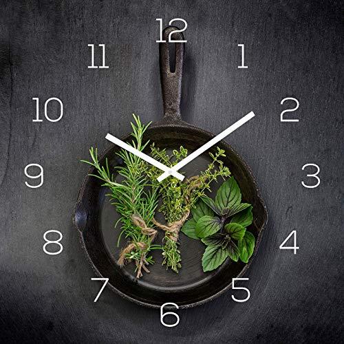 levandeo Wanduhr Glas 30x30cm Glasuhr Uhr Glasbild Kräuter Küchenuhr Küche Deko Küchendeko Gewürze