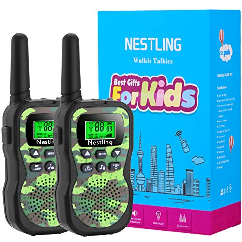 Nestling Walkie Talkies für Kinder 8 Kanal Funkgerät mit Hintergrundbeleuchteter LCD-Taschenlampe - für Abenteuer im Freien, Camping, Wandern(Grün)