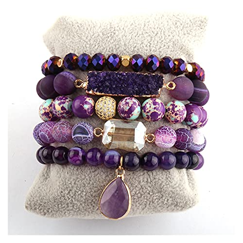 Wrist Accessories Fashion Designer Empire Stone Beaded Bracelet Natural Stone Dorp Charms 5pc Bracelets Sets Fit for Women Jewelry Gift Everyday Party (Length : 18.5cm, Metal Color : Purple)