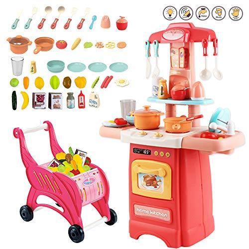 deAO 40-teiliges Miniaturküche  Mein Kleiner Koch  Vorgetäuschtes Küche Rollenspiel Set mit Induktionskochfeld, Wasserspielen, Lichtern Sounds, Zubehör und Einkaufswagen enthalten (Rosa)