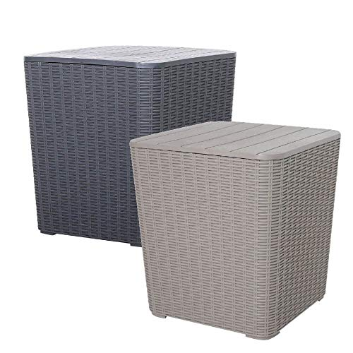 Grey Outdoor Rattan Effect Garden Side Table Storage Box 43L - Tool & Cushion Storage Box Seat for Patio, Balcony or Terrace - Contemporary Design, Weather Resistant, Fade Free & Easy Clean