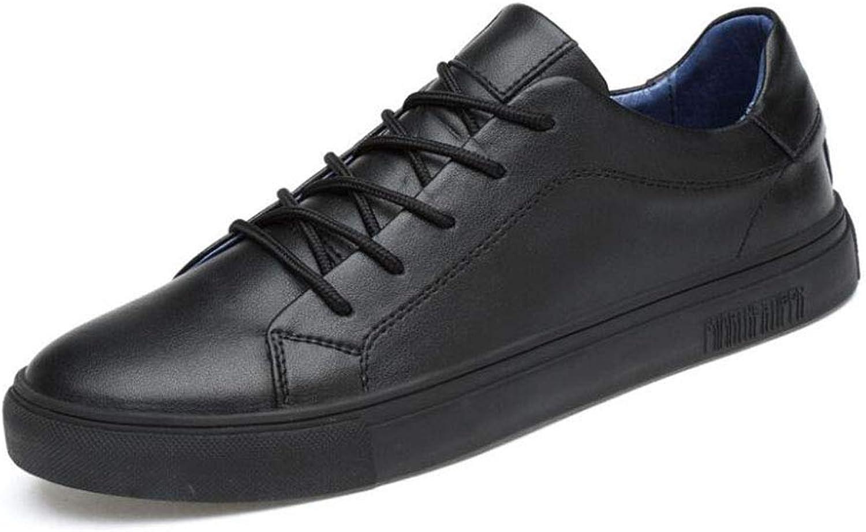 YAXUAN shoes Men's shoes, Outdoor Deck shoes Black shoes Mens Leather Round Head British Tide shoes Men's Sports shoes (color   Black, Size   39)