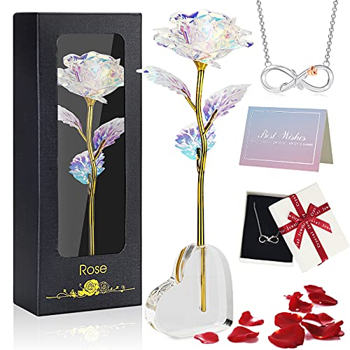 Oryidr Eternal Rose con Base en Forma de corazón y Tarjeta de felicitación, Collares de niña,, niñas, Esposa, cumpleaños,día de la Madre (Vistoso)