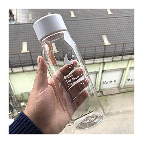DDDCM A Prueba de Fugas de la Botella de Agua para la niña Biking Travel Water Cup Portable Dibujos Animados Botellas de Agua Deporte Botella de plástico para Beber (Color : Transparent Orange)