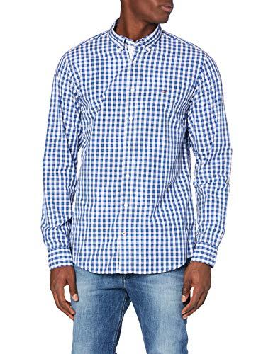 Tommy Hilfiger Small Open Check Shirt Camisa, Cuarzo Azul/Multi, L para Hombre