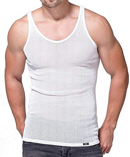 Netz Unterhemd für Herren, Herren Netzunterhemd, atmungsaktives Herren Netzhemd aus reiner Baumwolle, europäische Produktion (7 (XL), weiss)