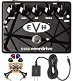 MXR EVH 5150 Overdrive Pedal with 3 Band EQ Bundle with Blucoil Slim 9V Power Supply AC Adapter, 2-Pack of Pedal Patch Cables, and 4-Pack of Celluloid Guitar Picks