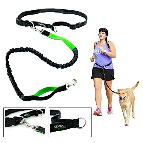 Clickgofit Hands Free Dog Leash for Runners-Best Jog Leash for Running Hiking Walking Jogging-Extendible Retractable Reflective Hands Free Leash-eBook Included by
