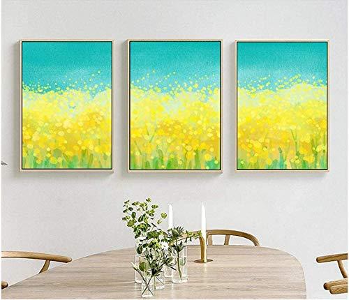 LangGe Style Nordique 3x50x70cm Pas de Cadre Simple et Frais Colza Peinture à l'huile Toile Peinture Affiche Mur Photos pour Enfants Chambre décor à la Maison