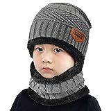 heekpek Niños Sombrero Caliente de Punto y Bufanda Tubular con Forro de Lana, para Niños y Niñas Conjunto de Bufanda Gorro Niños Kids (Gris)