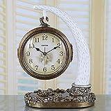 LHQ-HQ Reloj creativo moderno de resina retro de la estación del arte del reloj silencioso de la sala de estar del silencio (color blanco lechoso+bronce)