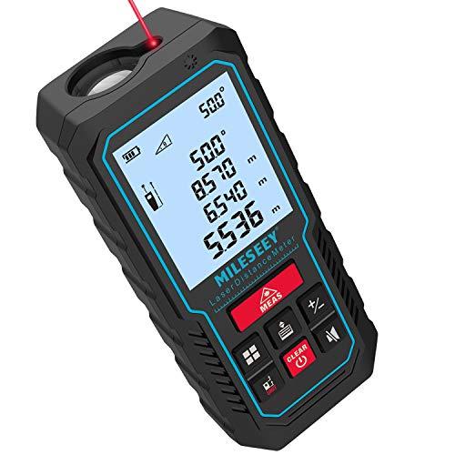 70M Laser Entfernungsmesser, MiLESEEY Lasermessgerät mit Verbessertem Elektronischen Winkelsensor, ±2mm Genauigkeit, Pythagoras, Fläche und Volumen, hintergrundbeleuchtetes LCD, Batterie enthalten