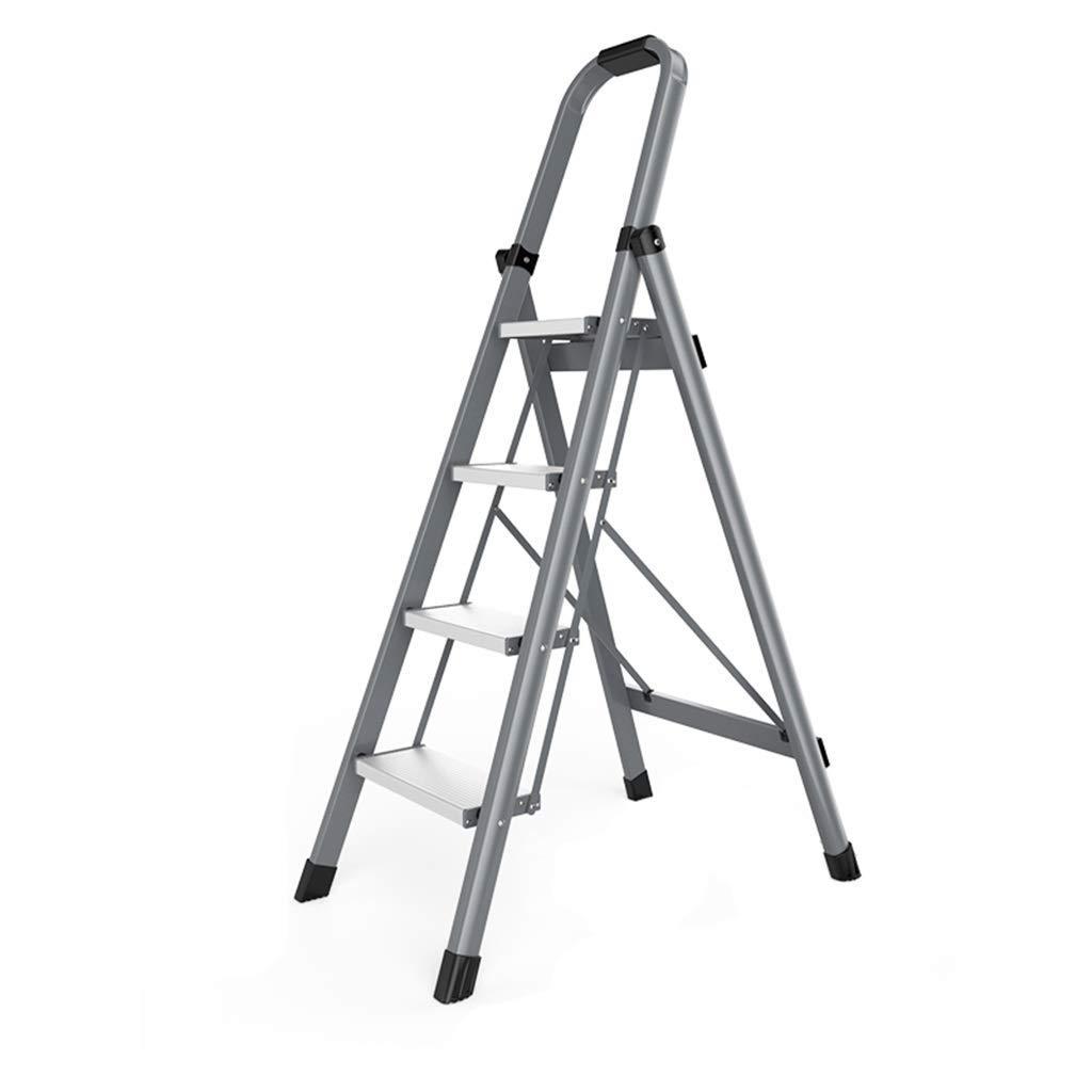 Yxsd Plegable heces escalera portátil de tijera de aluminio con empuñadura Escalera plegable for el hogar y la oficina Multiuso Inicio General Perfil Ligera en Ingeniería de interior al aire libre Esc: