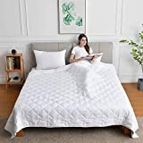 King Size Weighted Blanket for Couples(20lbs,88x104Inches), Weighted Blanket California King Size Bed Adult Weighted Blanket with 100% Soft Cotton and Glass Beads -White