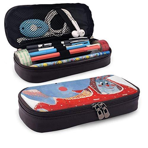 Estuche de piel para lápices de acuarela, diseño de elefante y liebre en pequeños viajes en coche, para estudiantes, 19,8 x 11,4 x 3,8 cm