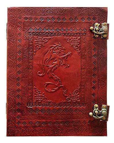 Kooly Zen - Taccuino con blocco note, diario, libro, vera pelle, vintage, drago medievale, chiusura in metallo vintage, 25 x 33 cm, 200 pagine, carta premium