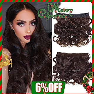 Invisible Wire Clip in Halo Hair Full Head Hair Extension Secret Rubber Band Hairpieces Real Natural Human Hair (100g 18