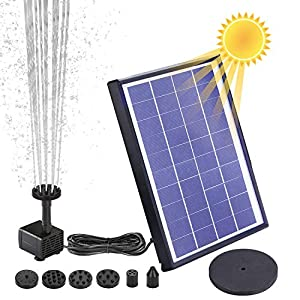 AISITIN Solar Fuente Bomba 6.5W Fuente de Jardín Solar Batería Incorporada con 6 Boquillas y Tabla Flotante para Pequeño…