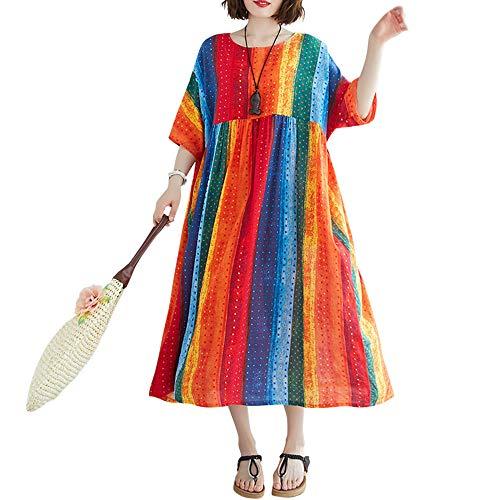 Romacci Damen Vintage Baumwolle Leinen Kleid Druck Gespleißt Gestreift O-Ausschnitt Kurzarm Tasche Lockeres Kleid