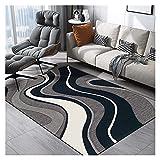 alfombra de área Moderna, Abstracta Sala de Estar Dormitorio Decoración, Curva geométrica Extra Grande Azul Off-White Interior o Exterior 6 0X90CM (Size : 160X280CM)