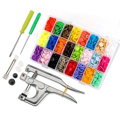 Queta 360pcs Bouton Pression 24 Coloris en T5 Résine + Kit de Pince Bonton Pression Métal pour T3 T5 T8 en Plastique + une Boîtes de Rangement Transparents