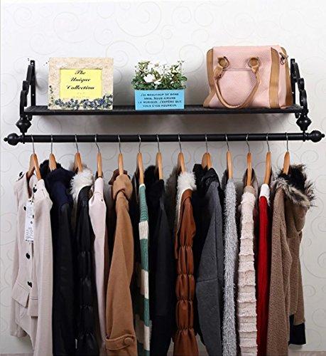 XAGB Perchero para colgar ropa, soporte de exhibición de ropa, de hierro retro, montado en la pared, estante lateral, estante para colgar estanterías, color negro (tamaño: 100 cm)