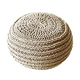 HUANLIAN Hand Knit Bean Bag Floor Footstool Washable Pouf Chair with Cotton Braided for The Living Room Bedroom and Kids Room,C