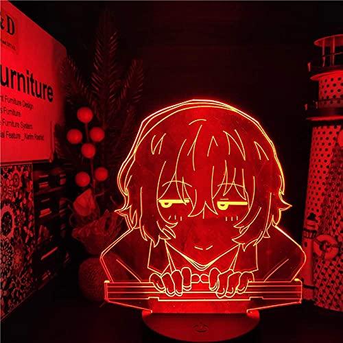 Luz de ilusión 3D Luz de noche LED Anime Bungo Perros callejeros Dazai Lámpara de mesa acrílica que cambia de color Dormitorio en casa para niños Regalo de vacaciones 7 colores