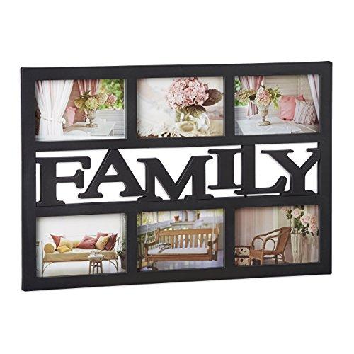 Relaxdays Cadre photos pêle-mêle 6 photos Galerie collage cadre mural Family famille 33 x 48 cm, noir