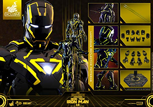 Hot Toys Movie Masterpiece - Iron Man 2 - Mark VI (6) Neon Tech Suit Diecast 1/6 Sixth Scale Collectible Figure 2019 Toy Fair Exclusive Limited Edition