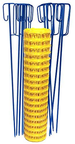 UvV Set Fangzaun gelb 50 m + 10 Blaue Absperrleinenhalter, Absperrnetz, Maschenzaun, Bauzaun Rolle Kunststoff extra reissfest (Gelb-Blau)