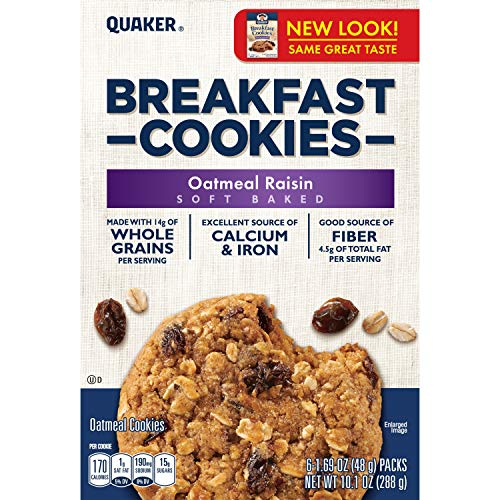 Quaker Breakfast Cookies, Oatmeal Raisin, 10.1oz Cookies Per Box