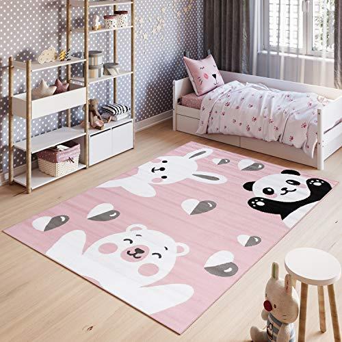 Tapiso Pinky Teppich Kurzflor Rosa Grau Schwarz Weiß Modern Panda Bär Teddy Eisbär Hase Tiere Design Kinderzimmer Kinderteppich ÖKOTEX 200 x 300 cm