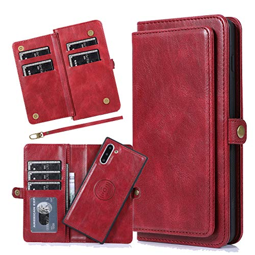 Harsel 7 Card Slots Magnetic Closure Detachable Flip PU Leather Wallet Purse Case with Strap and Removable Protective Silicone Covers for Women Men for Samsung Galaxy Note 10 (Red)